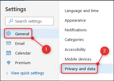 "The ""Privacy and data"" option"