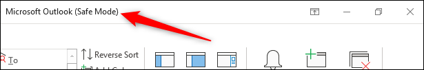 Outlook header bar showing Safe Mode text