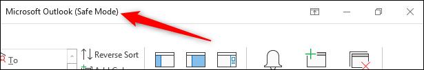 Outlook header bar showing Safe Mode text