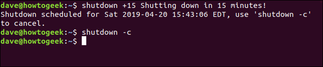 Shutdown -c cancel command