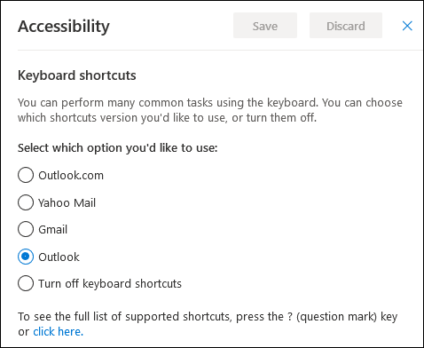 The Accessibility options for changing shortcuts
