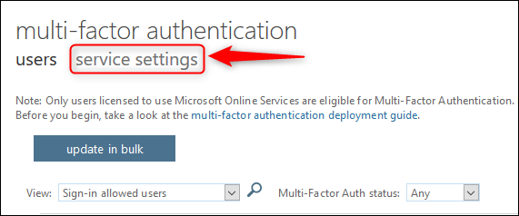 "The ""service settings"" tab"