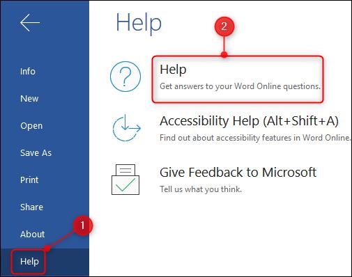 The Help option