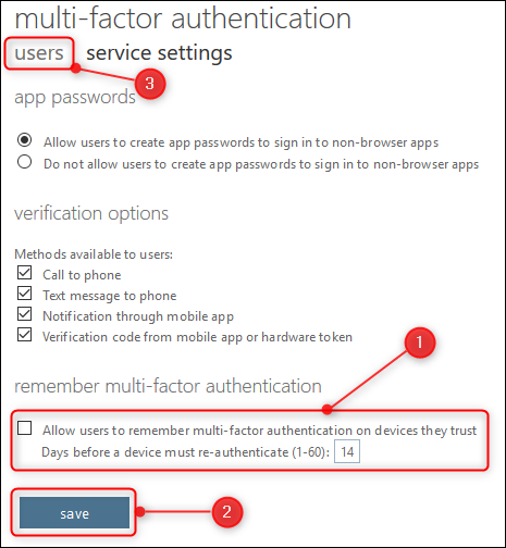 "The ""service settings"" options and the ""users"" tab"