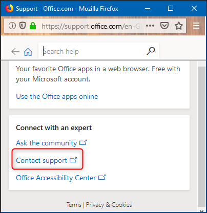 The Contact support link
