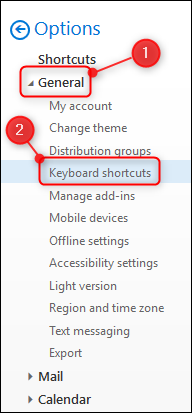 "The ""Keyboard shortcuts"" option"