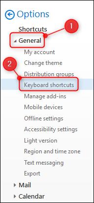 """La opción """"Métodos abreviados de teclado"""""""