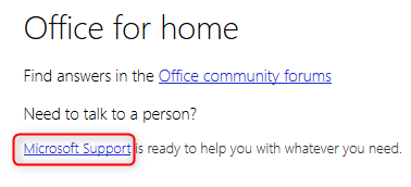 The Microsoft Support link