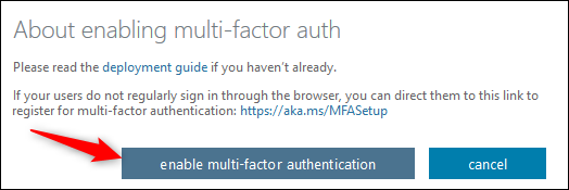 """The """"enable multi-factor authentication"""" button"""