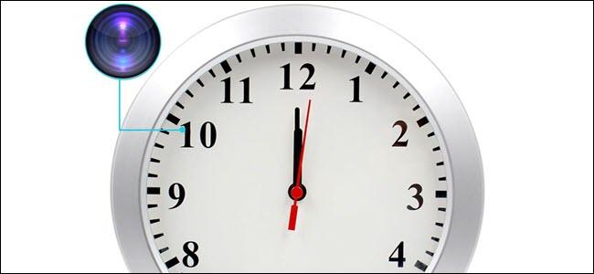 Analog clock with camera hidden in number ten