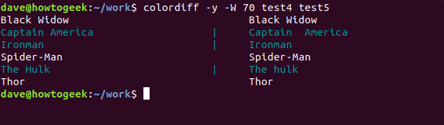 Output of colordiff on test4 and test5 files