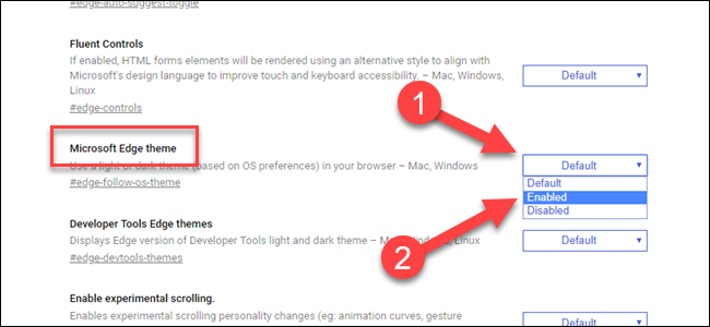 Edge Flag for Microsoft Edge theme, with arrow pointing to dropdown and enabled