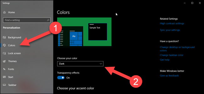 Windows color settings page with arrows pointing to colors and theme options