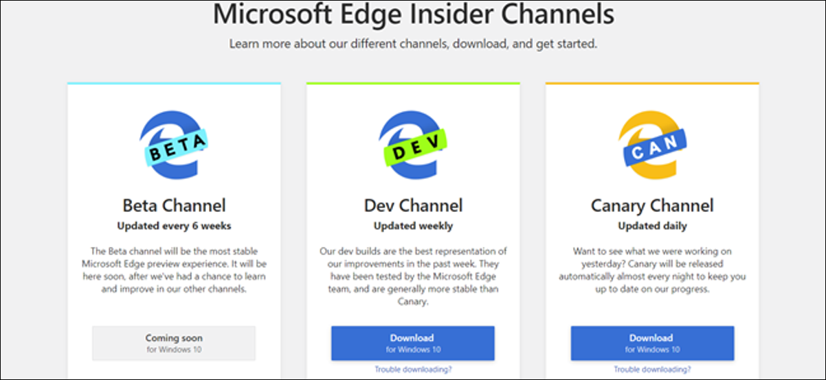 Microsoft Edge Insider Channels page