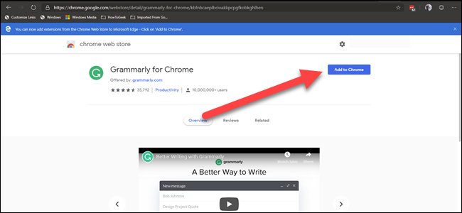 Chrome Web Gramarly extnesion with arrow pointing to 'add to chrome' button