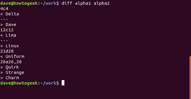 Output from diff command with no options