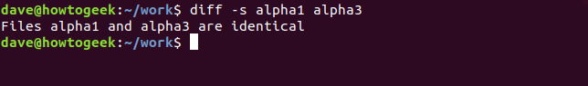 Output of the diff command with -s option