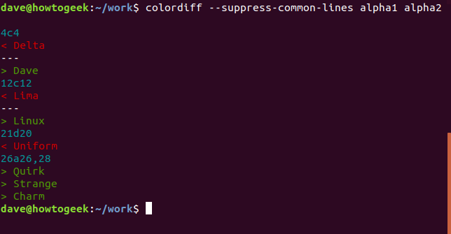 Output of the colordiff command with no options