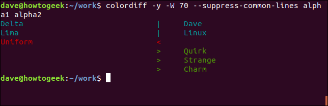 Output of the colordiff command with --suppress-common-lines option