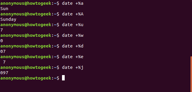 Output of the date command with a A u w d e j options