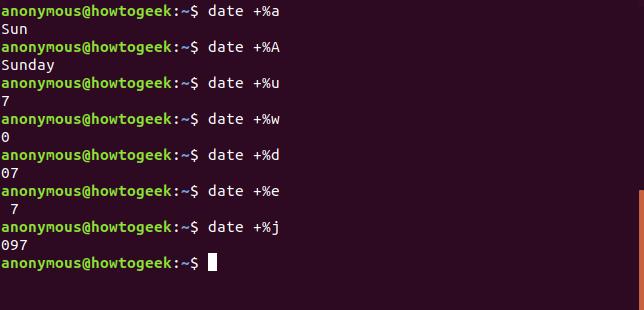 Output of the date command with a A u w d e j options