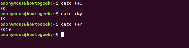 Output of the date command with C y Y options