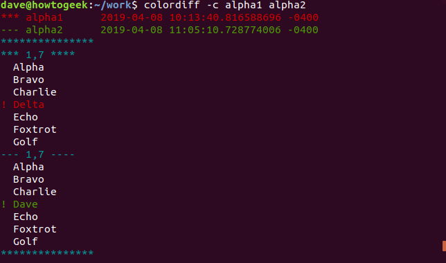 Output of colordiff with -c option