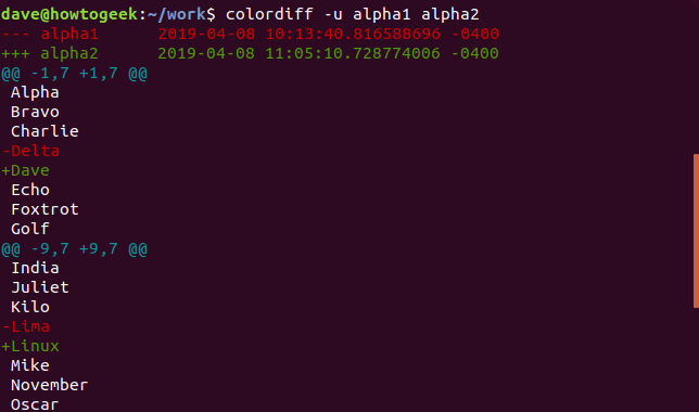Output of colordiff with -u option