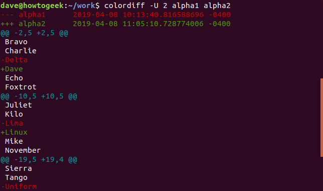 Output of colordiff with -U 2 option