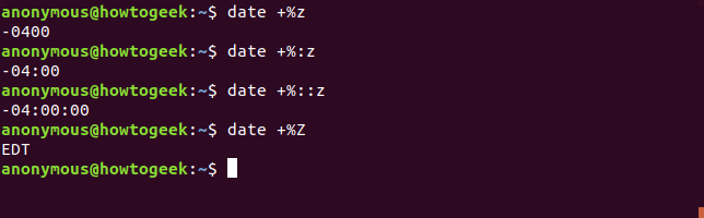 Output of the date command with timezone options