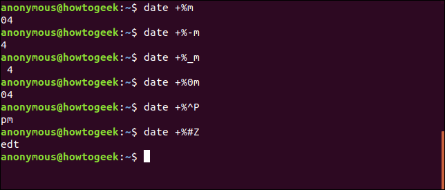 Output of the date command with formatting options
