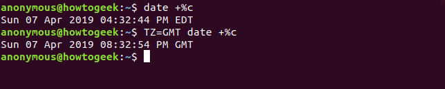 Output of the date command for a different timezone
