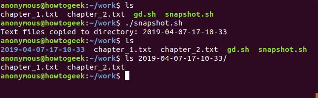 Effect of running the snapshot.sh script