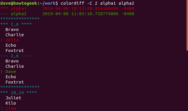 Output of colordiff with -C 2 option