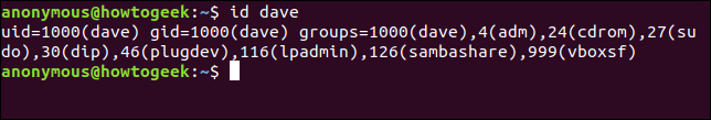 Output from the id command
