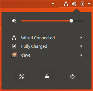 System menu showing the user name