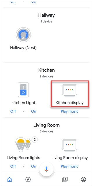 Google Home App with box around Kitchen Display option (a named Google Home Hub)