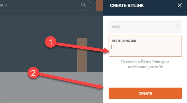 bit.ly site with arrows pointing to paste url box and create button.