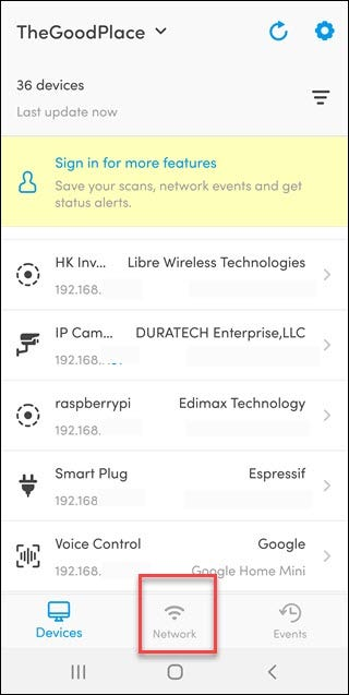 Fing app with box around network option