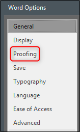 Proofing in Word Options