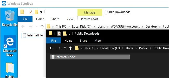 Windows Sandbox Explorer and Host system Explorer showing a shared file