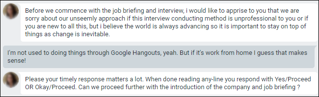 Google Hangouts chat with apology for conducting interviews through chat