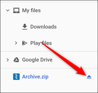 After you're finished, click the eject icon to unmount the ZIP file from the app