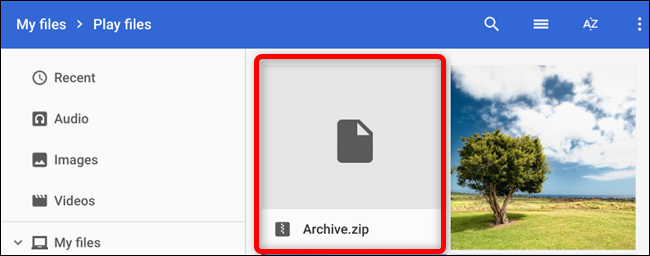 Your zipped file appears in the current folder as Archive.zip