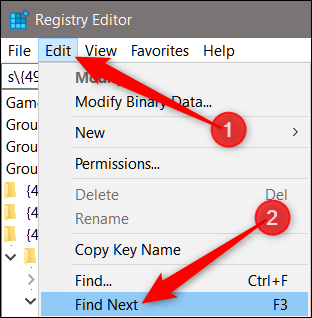 Click Edit, then click Find Next to find other policies