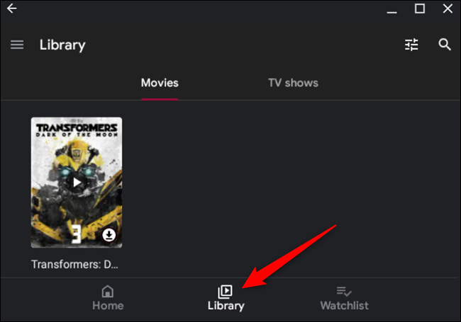 Access your library from the Play Store app by clicking Library, located at the bottom of the window