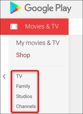 Further filtering options on the sidebar let you sort by TV, family, production studios, and the channel a show is broadcast