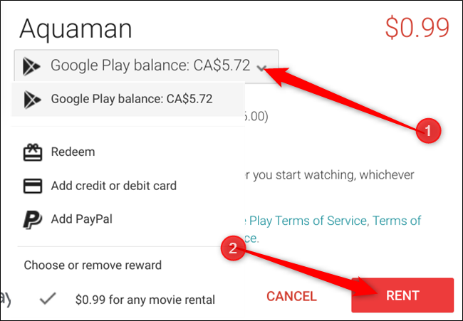 By default, Google Pay ballance is used first, if you want to change that, click the drop-down menu, select a payment method, then click Rent