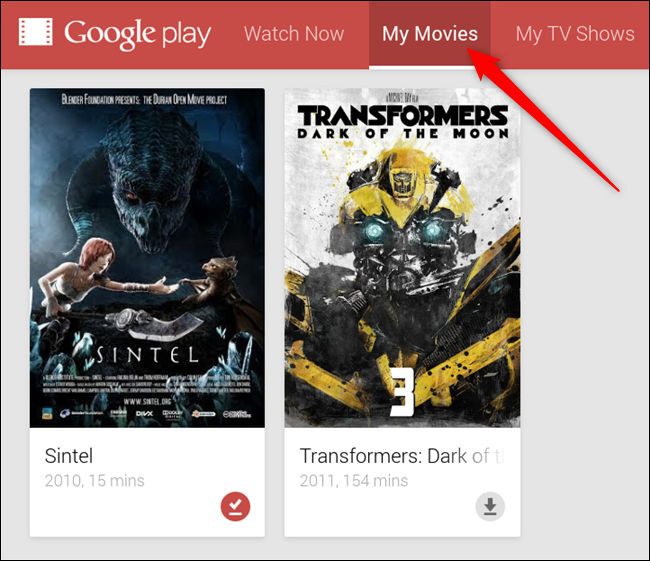 Access your library through the extension by clicking either My Movies or My TV Shows