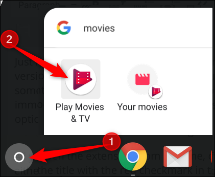 Click the launcher, type Movies, then click Play Movies & TV